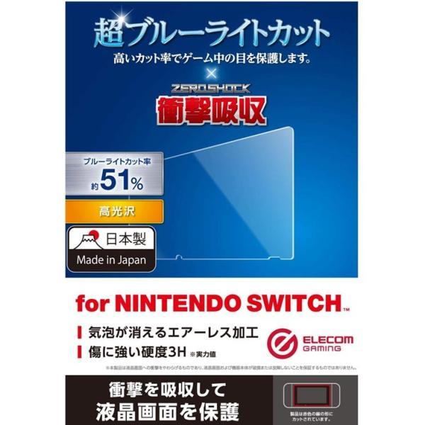 Nintendo Switch 液晶保護フィルム 高光沢 衝撃吸収 ブルーライトカット 指紋防止 日本製 抗菌 フッ素コート クロス付き GM-NSFLPSBLG