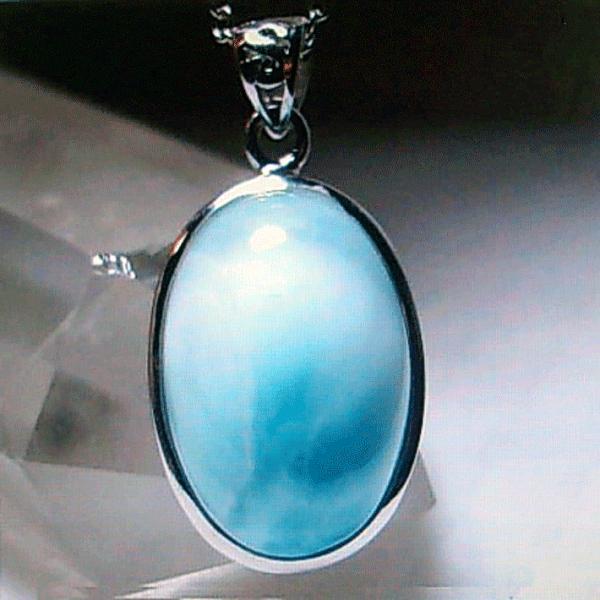 ラリマー オーバル型 ペンダント ネックレス パワーストーン 天然石H