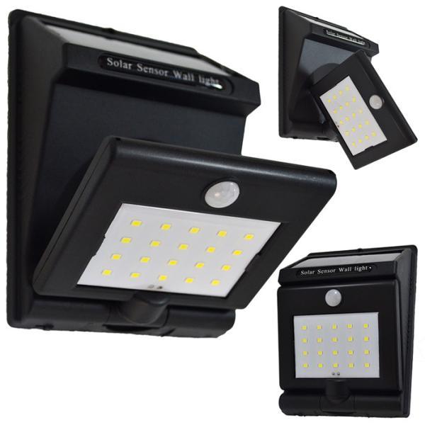 LED センサーライト ソーラーライト 20LED LEDライト 180度回転 屋外 人感センサーライト 高輝度 太陽光 省エネ 120度広角照明 ###ライトGB20-48SMD###