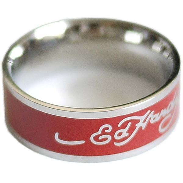 エドハーディー リング ペア 指輪 レッド ロゴ メンズ レディース ジュエリー ステンレス アクセサリー EDHARDY 9306 EHRSS1-RED