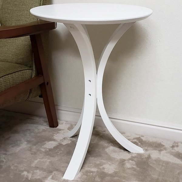 サイドテーブル ホワイト色(木目ほぼ無し) 何個でも送料合計500円♪(北海道・東北・九州・沖縄・離島を除く) お客様による組立が必要です。 木製 白色 CF-913WH|aidas-satisfaction