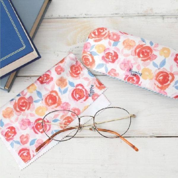 メガネケース SALE 40%OFF 花柄 ローズ柄 おしゃれ かわいい クロス付き blooming メガネケース レッドオレンジ