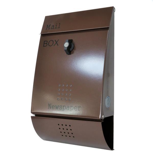 ポスト 郵便ポスト 郵便受け メールボックス壁掛けブラウン色 ステンレスポストm012[訳あり]|aihome