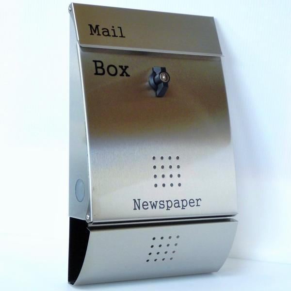 郵便ポスト郵便受け メールボックス壁掛けシルバーステンレス色プレミアムステンレスpm016[訳あり]|aihome