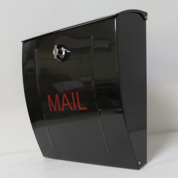 ポスト 郵便ポスト 郵便受け 大型メールボックス壁掛けブラック黒色ステンレスポストm023[訳あり]|aihome