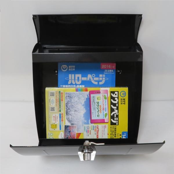 ポスト 郵便ポスト 郵便受け 大型メールボックス壁掛けブラック黒色ステンレスポストm023[訳あり]|aihome|06