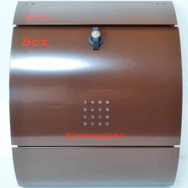 ポスト 郵便ポスト 郵便受け 大型メールボックス壁掛けブラウン色 ステンレスポストm032[訳あり]|aihome