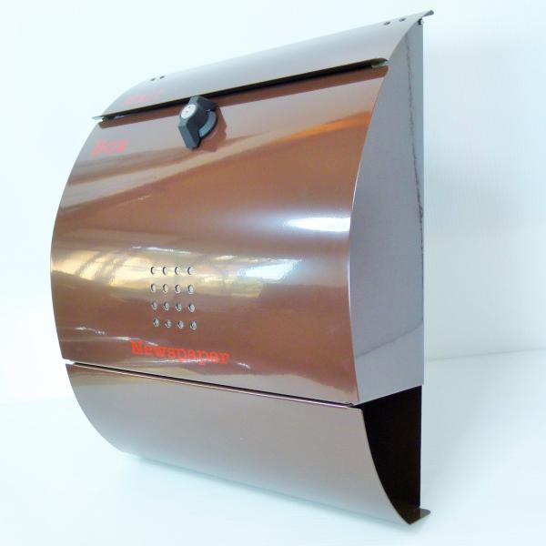 ポスト 郵便ポスト 郵便受け 大型メールボックス壁掛けブラウン色 ステンレスポストm032[訳あり]|aihome|02