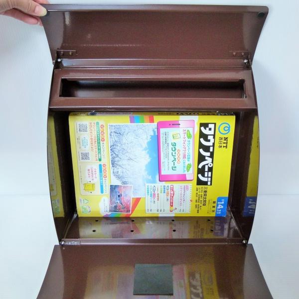 ポスト 郵便ポスト 郵便受け 大型メールボックス壁掛けブラウン色 ステンレスポストm032[訳あり]|aihome|06