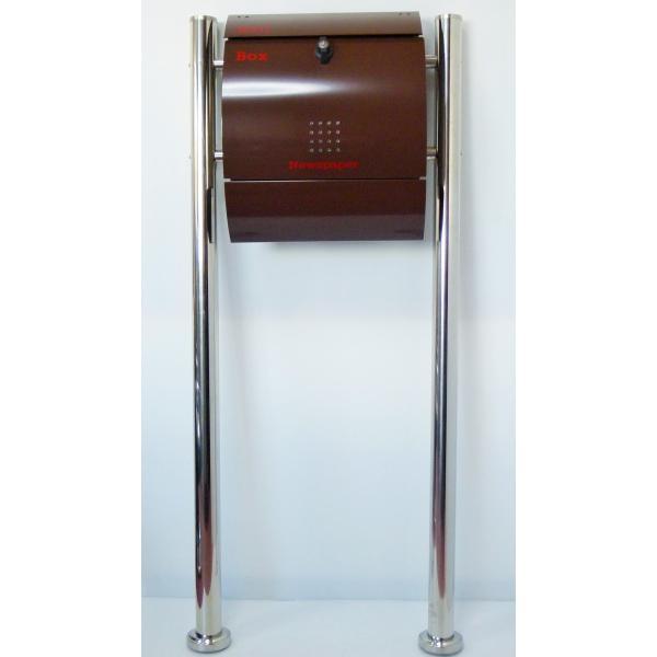 郵便ポスト郵便受けメールボックス大型メール便スタンド型ブラウン色ステンレスポストm032s|aihome