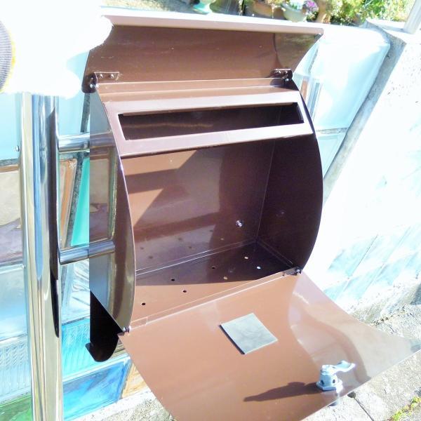 郵便ポスト郵便受けメールボックス大型メール便スタンド型ブラウン色ステンレスポストm032s|aihome|06