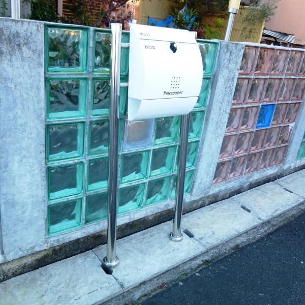 郵便ポスト郵便受けメールボックス大型メール便スタンド型ホワイト白色プレミアムステンレスポストpm033s|aihome|05