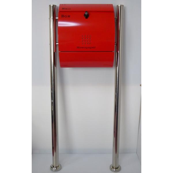 郵便ポスト郵便受けメールボックス大型メール便スタンド型レッド赤色プレミアムステンレスポストpm034s|aihome