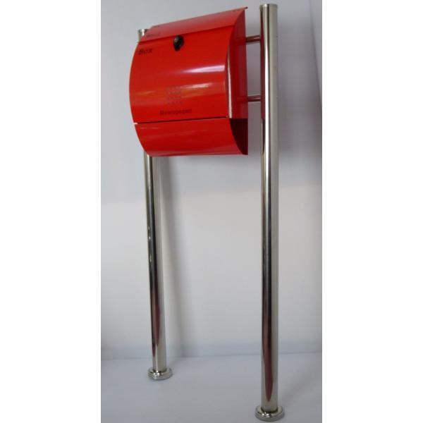 郵便ポスト郵便受けメールボックス大型メール便スタンド型レッド赤色プレミアムステンレスポストpm034s|aihome|02