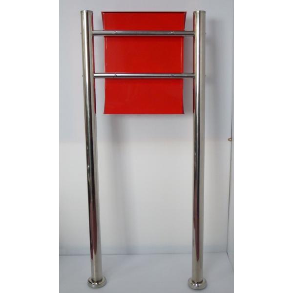 郵便ポスト郵便受けメールボックス大型メール便スタンド型レッド赤色プレミアムステンレスポストpm034s|aihome|03