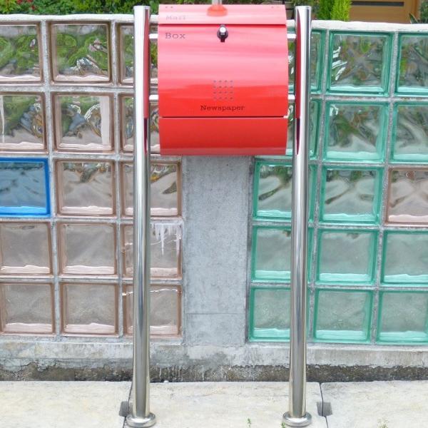 郵便ポスト郵便受けメールボックス大型メール便スタンド型レッド赤色プレミアムステンレスポストpm034s|aihome|04