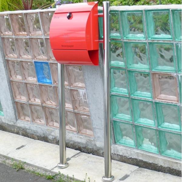 郵便ポスト郵便受けメールボックス大型メール便スタンド型レッド赤色プレミアムステンレスポストpm034s|aihome|05