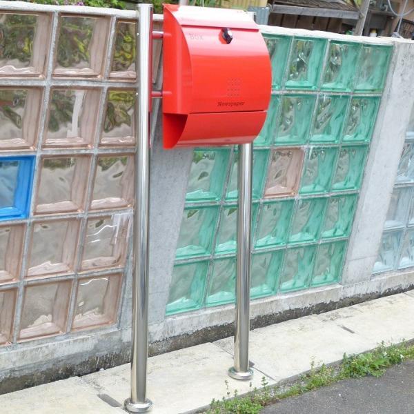 郵便ポスト郵便受けメールボックス大型メール便スタンド型レッド赤色プレミアムステンレスポストpm034s|aihome|06