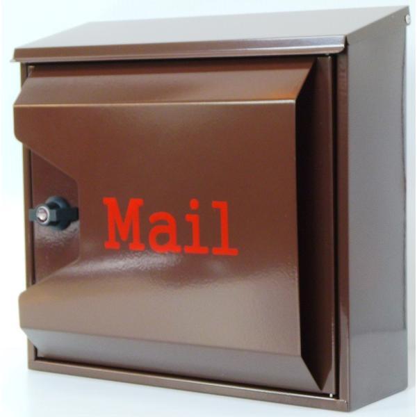郵便ポスト 郵便受け 大型メールボックス壁掛けブラウン色プレミアムステンレスポストpm042[訳あり]|aihome|02