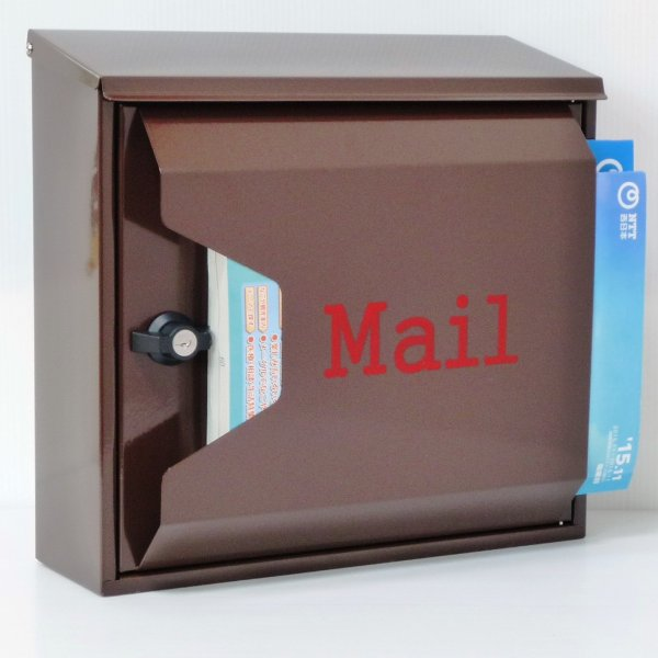 郵便ポスト 郵便受け 大型メールボックス壁掛けブラウン色プレミアムステンレスポストpm042[訳あり]|aihome|04