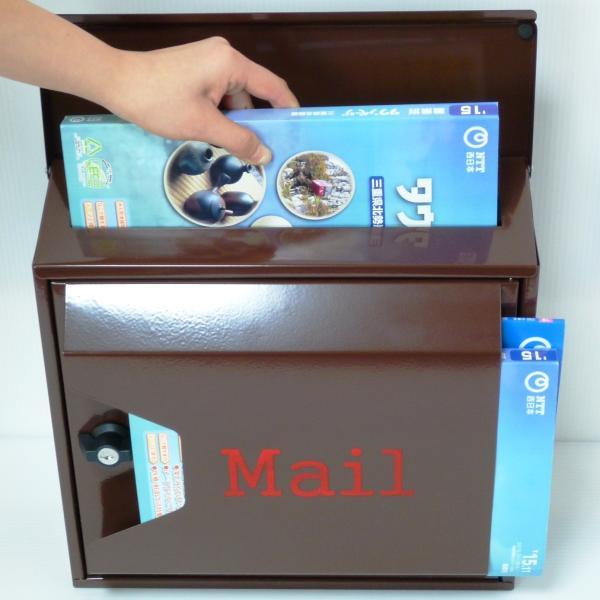 郵便ポスト 郵便受け 大型メールボックス壁掛けブラウン色プレミアムステンレスポストpm042[訳あり]|aihome|05