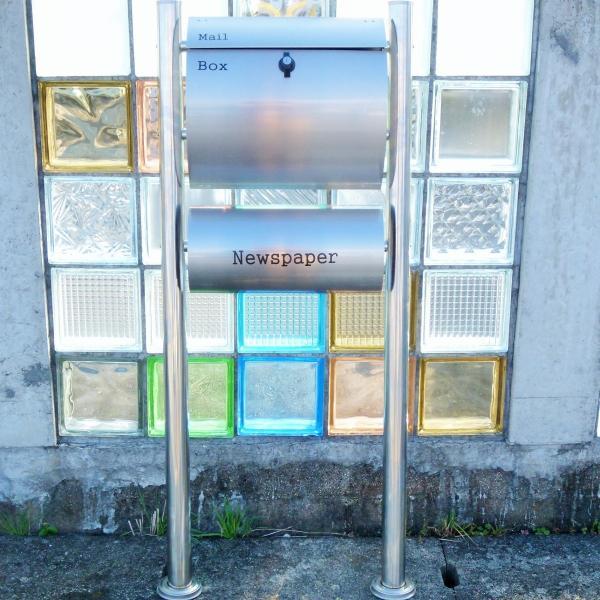 郵便ポスト郵便受けメールボックス大型メール便スタンド型シルバーステンレス色プレミアムステンレスpm062s|aihome|05