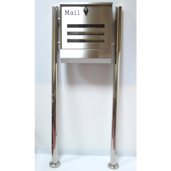 郵便ポスト郵便受けメールボックス大型メール便スタンド型シルバーステンレス色プレミアムステンレスpm141s|aihome