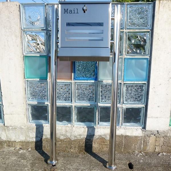 郵便ポスト郵便受けメールボックス大型メール便スタンド型シルバーステンレス色プレミアムステンレスpm141s|aihome|04