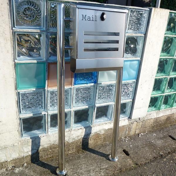 郵便ポスト郵便受けメールボックス大型メール便スタンド型シルバーステンレス色プレミアムステンレスpm141s|aihome|05