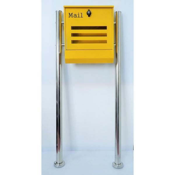 郵便ポスト郵便受けメールボックス大型メール便スタンド型イエロー黄色プレミアムステンレスpm144s|aihome