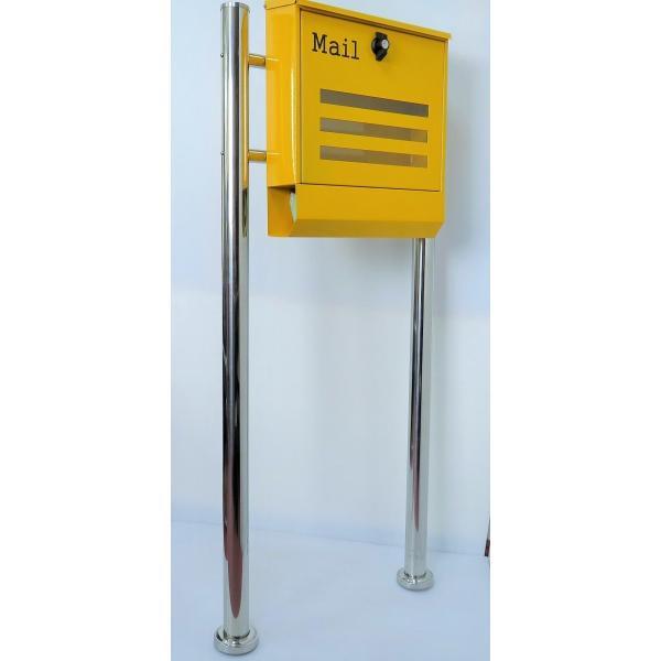 郵便ポスト郵便受けメールボックス大型メール便スタンド型イエロー黄色プレミアムステンレスpm144s|aihome|02