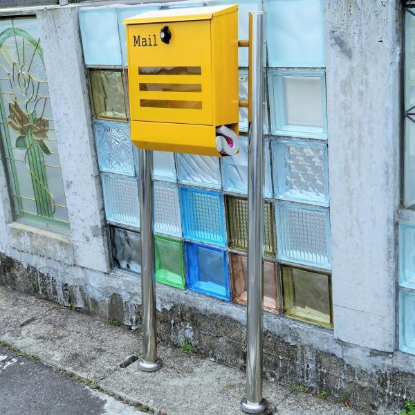 郵便ポスト郵便受けメールボックス大型メール便スタンド型イエロー黄色プレミアムステンレスpm144s|aihome|05
