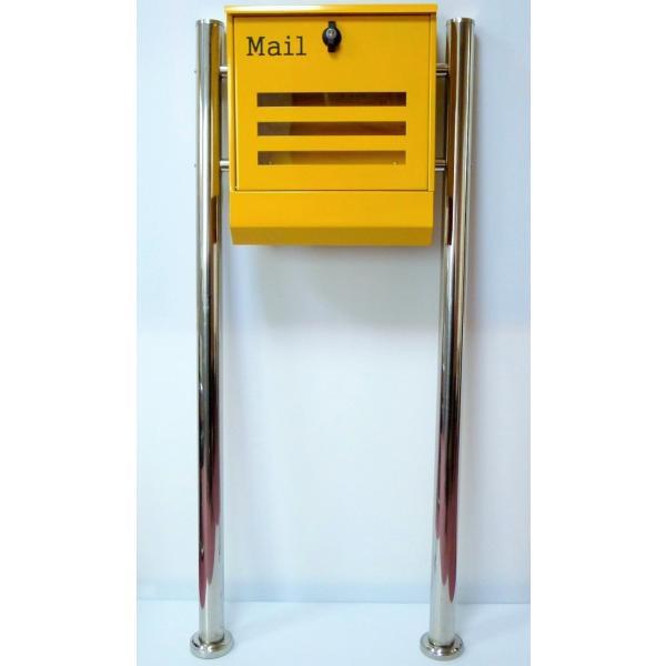 郵便ポスト郵便受けメールボックス大型メール便スタンド型イエロー黄色プレミアムステンレスpm144s|aihome|06