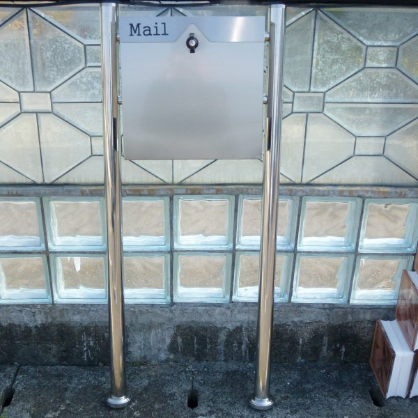 郵便ポスト郵便受けメールボックス大型メール便スタンド型シルバーステンレス色ステンレスポストm151s|aihome|04