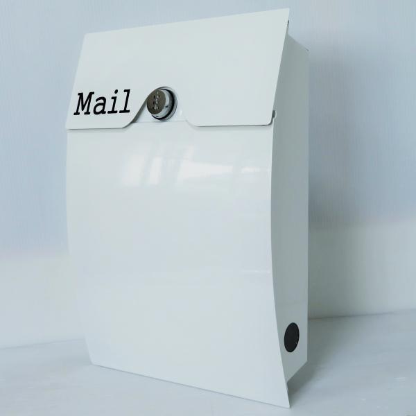郵便ポスト郵便受けメールボックス壁掛けダイヤル錠付きホワイト白色プレミアムステンレスポストpm162[訳あり]|aihome