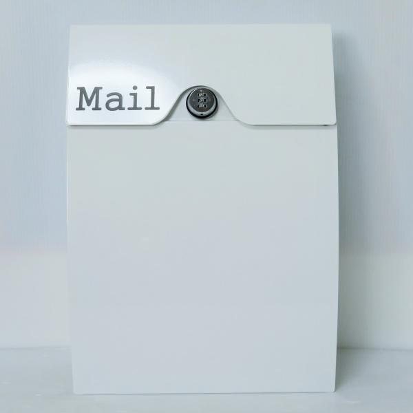 郵便ポスト郵便受けメールボックス壁掛けダイヤル錠付きホワイト白色プレミアムステンレスポストpm162[訳あり]|aihome|02