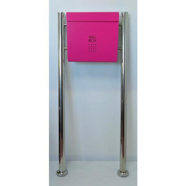 郵便ポスト郵便受けおしゃれかわいい人気北欧モダンデザインメールボックススタンド型マグネット付きピンク色ポストpm175s
