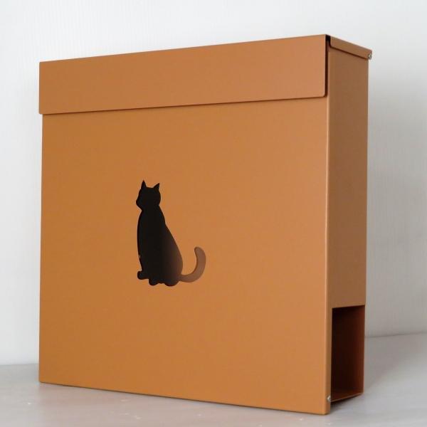 郵便ポスト郵便受けおしゃれかわいい人気北欧モダンデザイン大型メールボックス 壁掛け鍵付きマグネット付きブラウン色ポストpm388(訳あり)