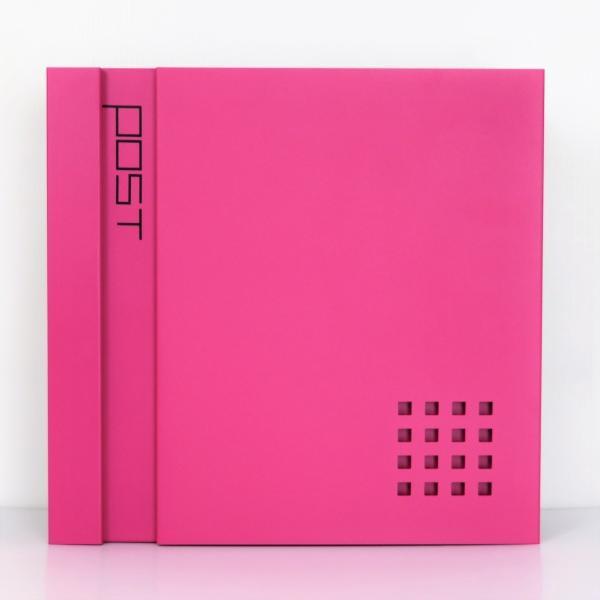 郵便ポスト郵便受けおしゃれ北欧大型メールボックス 壁掛け鍵付マグネット付ピンク色ポストpm467(訳あり)