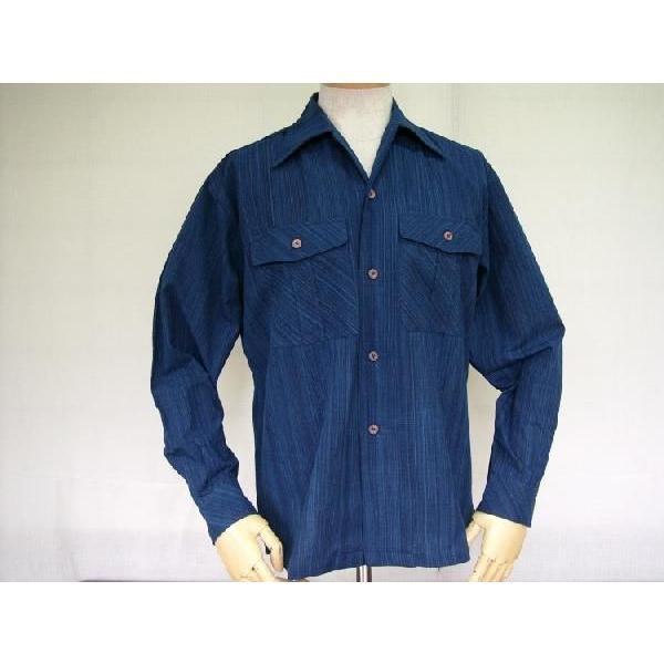 藍染雨絣 長袖オープンシャツ|aiira-ensyu|02