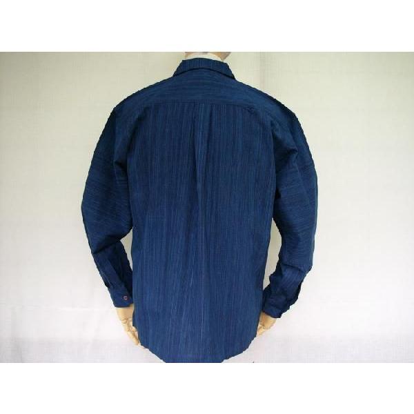 藍染雨絣 長袖オープンシャツ|aiira-ensyu|03