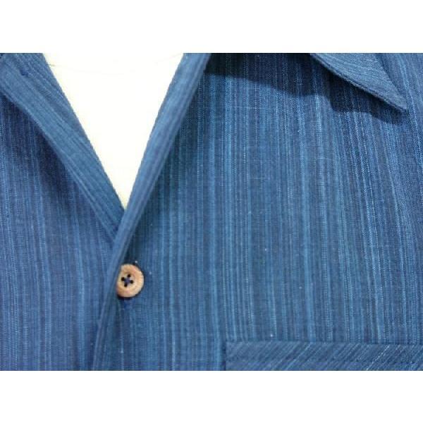 藍染雨絣 長袖オープンシャツ|aiira-ensyu|04