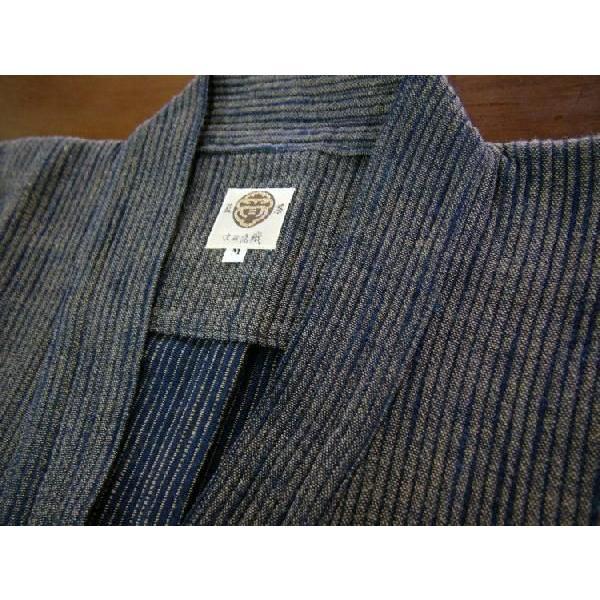 作務衣【厚地】藍茶二重織スラブ刺子|aiira-ensyu