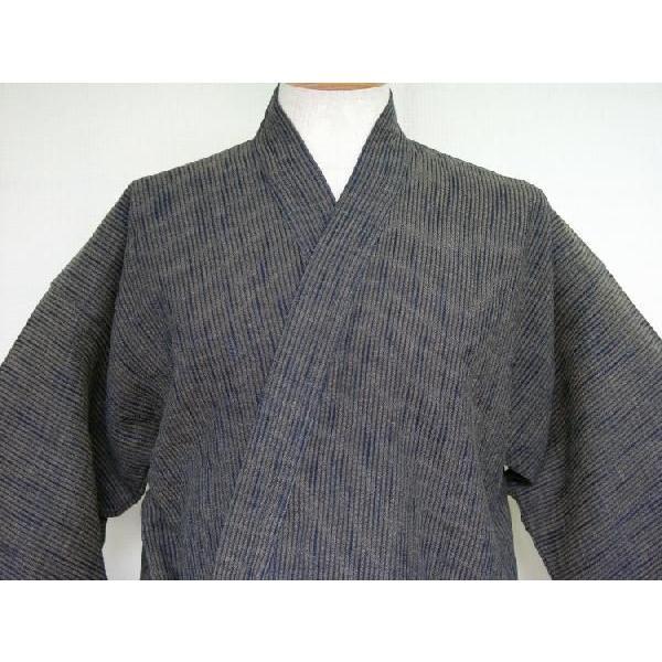 作務衣【厚地】藍茶二重織スラブ刺子|aiira-ensyu|03