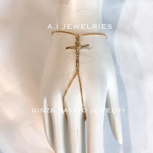 K18 18金 フィンガーブレスレット finger bracelet cross クロス 新品