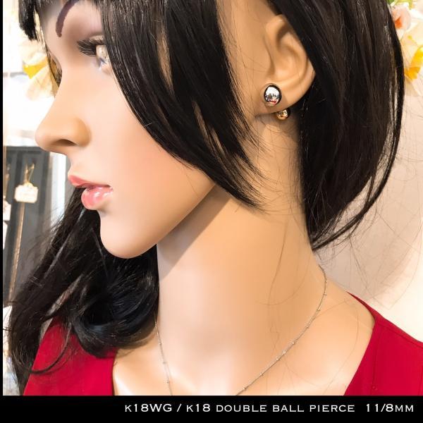 k18WG / k18 コンビ ダブル ボール ピアス / double ball pierce