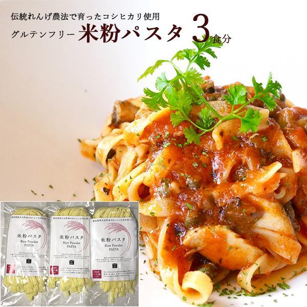 愛知県 / 送料無料 米粉パスタ 3食セット 米粉 麺 小麦卵アレルギー アトピー 食塩不使用 グルテンフリー コシヒカリ
