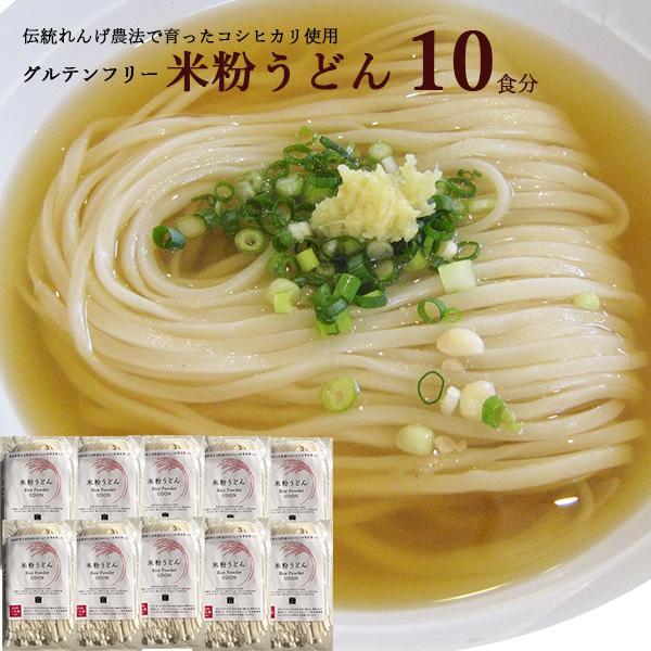 愛知県 / 送料無料 米粉うどん 10食セット 米粉 麺 小麦卵アレルギー アトピー 食塩不使用 グルテンフリー コシヒカリ