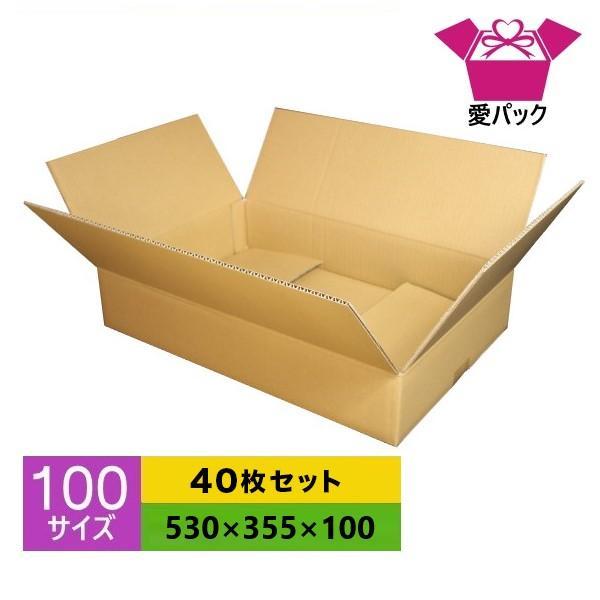 ダンボール箱 段ボール 100サイズ 40枚セット 中芯強化材質 日本製 無地 厚み5mm クロネコヤマト 宅急便 ゆうパック メルカリ 梱包