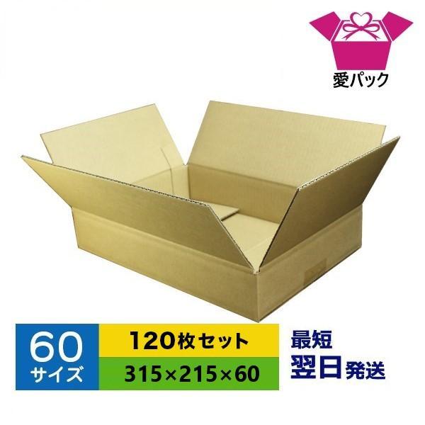 ダンボール箱 60サイズ A4 120枚 日本製 薄型 無地 段ボール 梱包用 日本製 薄型 ネットショップ 商品発送用 クロネコヤマト 宅急便 ゆうパック メルカリ